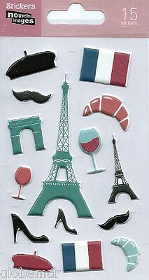 Cosciente Stickers 3d Pour Ordinateurs Consoles Cahiers Paris Tour Eiffel 14 Cm X 7,5 Cm