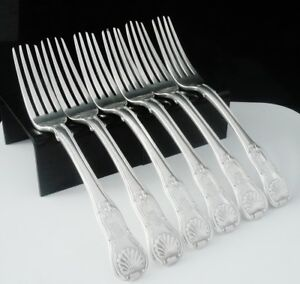 6-Antique-Silver-Dinner-Forks-Hourglass-Pattern-with-Union-Shell-Heel-1819