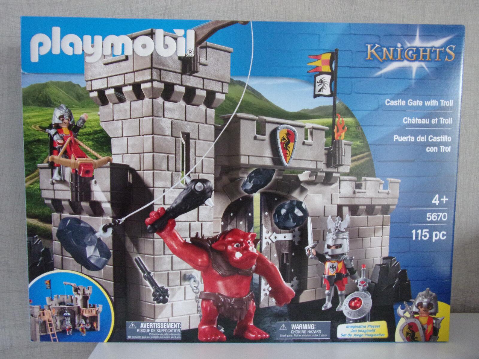 PLAYMOBIL KNIGHTS 5670 Burgtor avec troll ( Château GATE + Troll) -