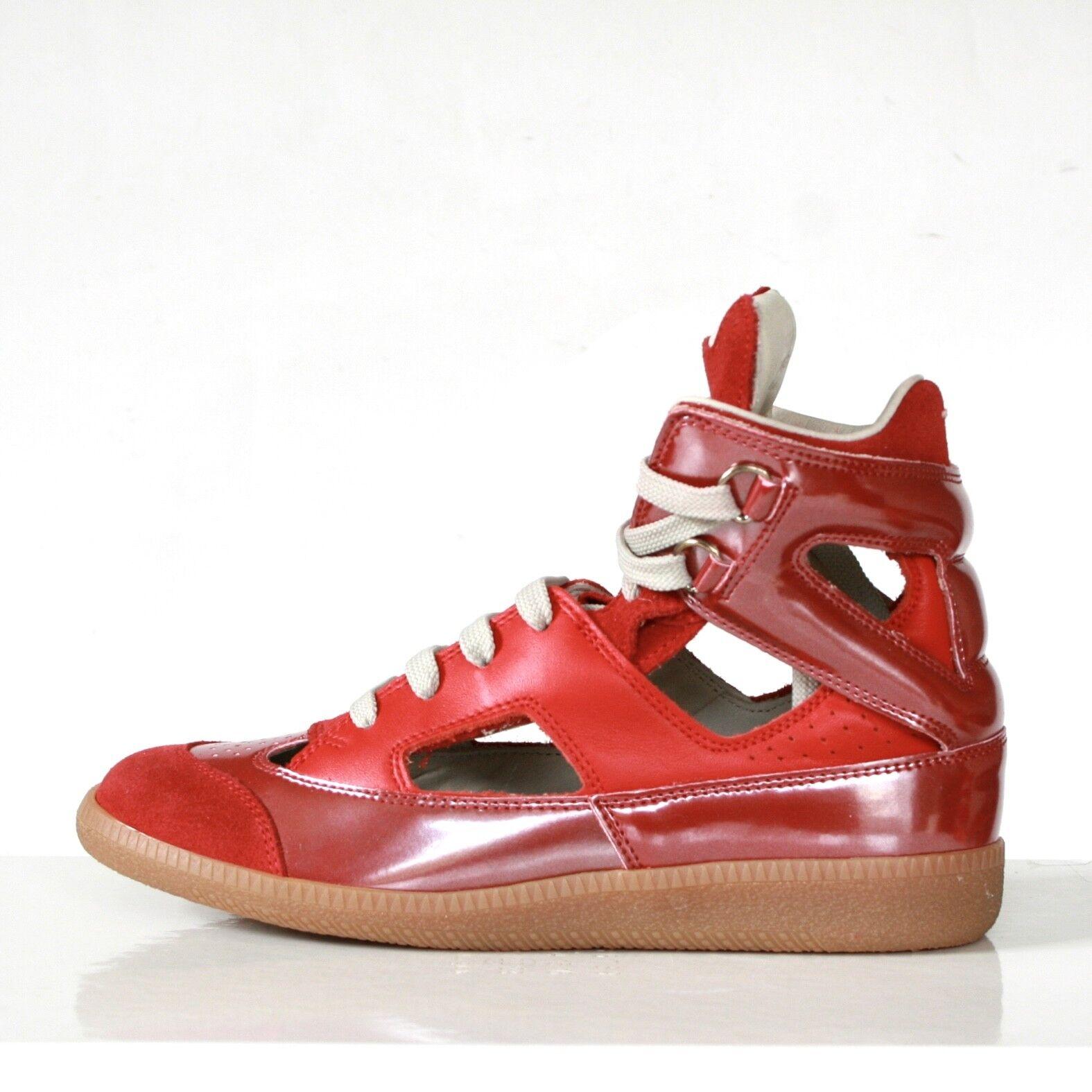 Maison Martin Margiela Rojo Rojo Rojo Cuero Recorte Zapatillas Zapatos Zapatillas Hi Top 35 Nuevo  ahorrar en el despacho