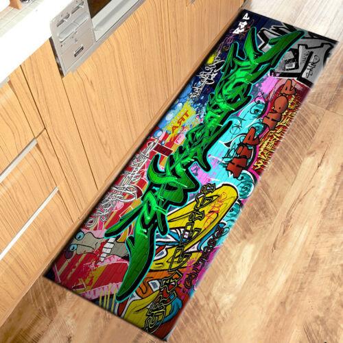 Hip Hop Urban Street Art Graffiti Wall Area Rugs Kitchen Living Room Floor Mat