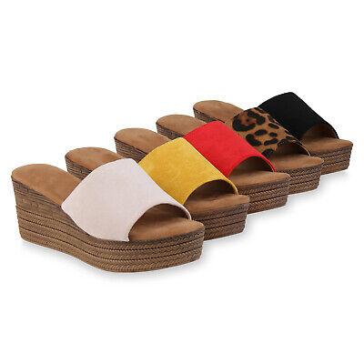 Damen Pantoletten Sandaletten Mid Heel Keilabsatz Sandalen 826430 Trendy Neu