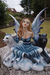 15487 Grande Figurine Statuette Fee Loup Blanc Et Noir Heroic Fantasy