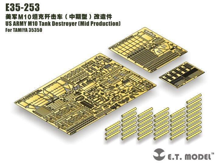ET Förlaga 1  35 \\353;E35253 U.S. M10 Tankförstörare Mid Detail Up Set för Tamiya 35350