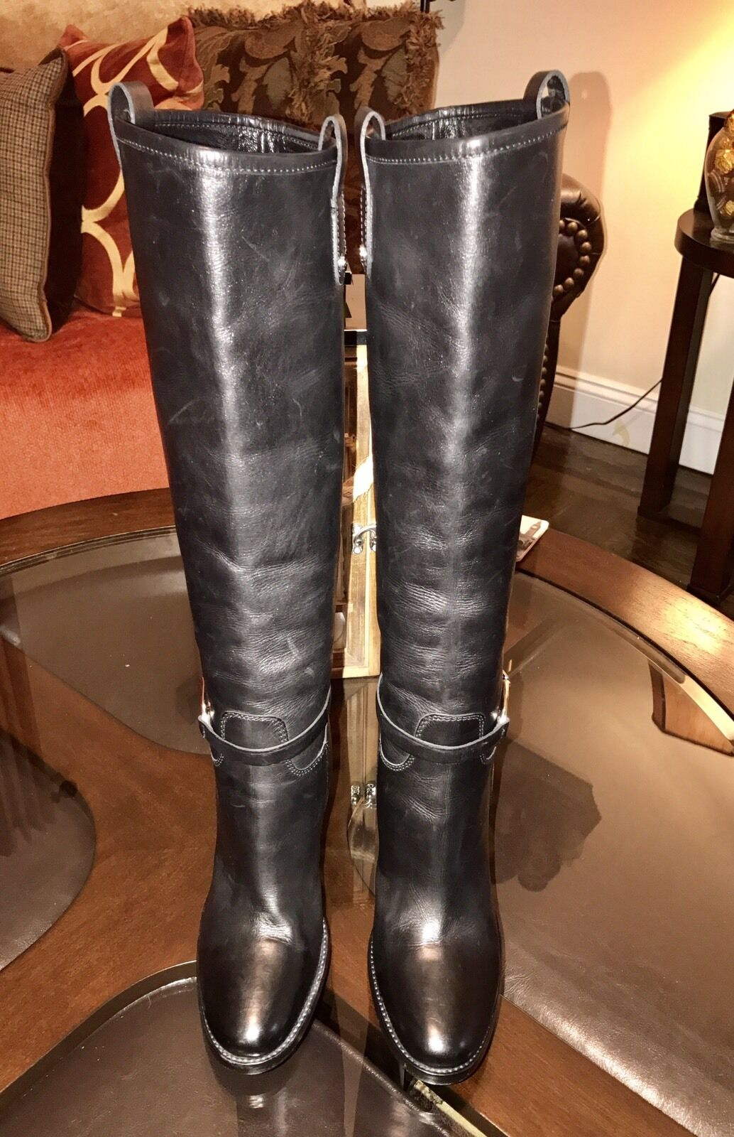 Ralph Lauren Womens Womens Womens Collection Burnished Leather Boots Sz 6B Made in  Black a7bc38