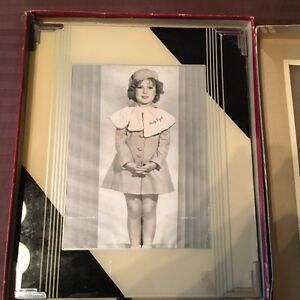 Antique reverse painted glass frame 10x12 black cream metal edges shirley temple