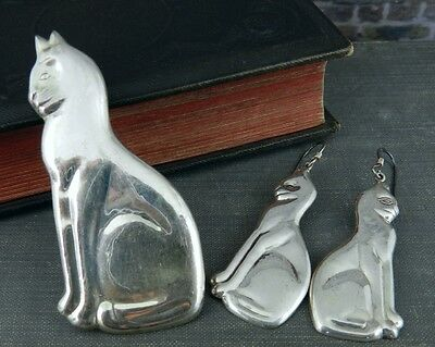 Sterling Silver Seated Cat Pin / Pendant and Earrings Set
