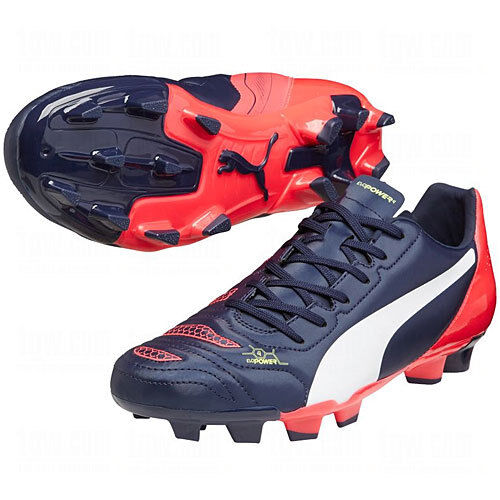 Puma eVoPower 4.2 FG 2015 Soccer Shoes Brand New Dark Navy Price reduction/ Red / White best-selling model of the brand