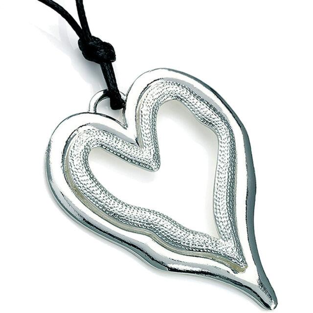 Lagenlook silver large heart pendant & cubic zirconia black leather suede fashion jewellery necklace Tc7C8x4GA