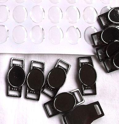 50 X Blank Gunmetal Oval Shoelace Paracord Charm 12 x 16 mm Clear Epoxy Sticker