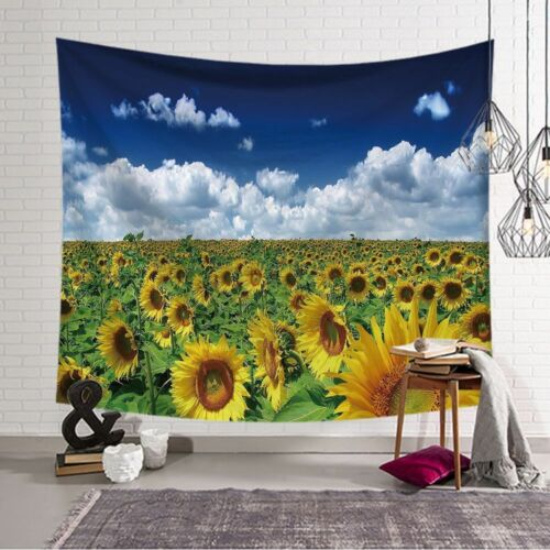 Sunflower Painting Tapestry Wall Hanging Flower Pattern Wallpaper Bedroom Decor