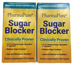 2 PharmaPure Sugar Blocker Slim Down Weight Loss Program Supplement 90 Per Box