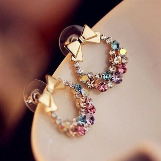 1pair Fashion Women Lady Elegant Crystal Rhinestone Ear Stud Earrings JewelryYTP