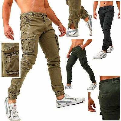 Jeans uomo pantaloni cargo colorati slim tasconi cotone skinny nuovi UO-2305