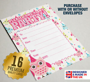 Details About 16 Owl Theme Party Invitations Pink Girls Birthday Party Invites A6 Size