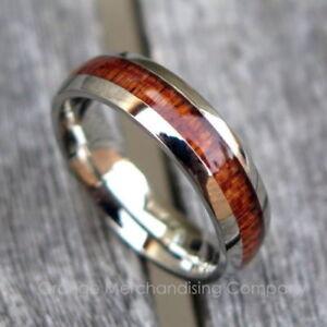 New 6mm Hawaiian Koa Wood Stainless Steel Ring Hawaii Wedding Engagement Band #1