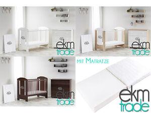 babybett kinderbett 120x60 holz gitterbett mit matratze wei beige veng ekmtrade ebay. Black Bedroom Furniture Sets. Home Design Ideas