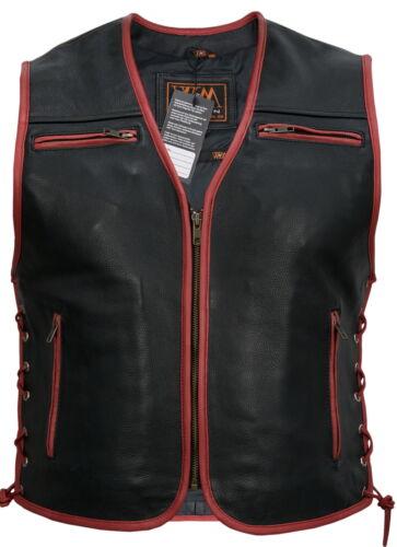 Black with Red umrand Motorcycle Biker Rocker Leisure Chopper Mens Leather Jacket