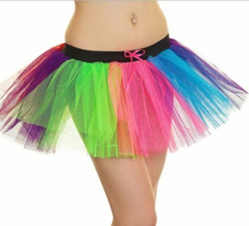 New Ladies Tutu Skirt Fancy Skirts Dress Up Hen Party Rainbow Multi Coloured 80s