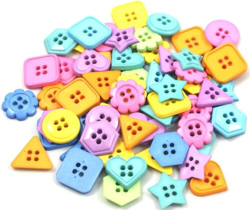 Mixed Assorted Various Shaped Buttons Star Heart Flowers Plus Others