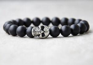 Rocker-Biker-Onyx-Totenkopf-Skull-Armband-Damen-Herren-Bracelet-10mm-Perlen-men