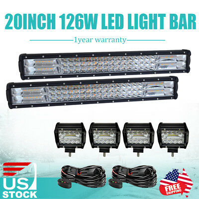 2x 20inch 126w Led Light Bar Flood Spot Offroad Wiring Work Lights 4wd Atv Ute Auto Parts And Vehicles Car Truck Light Bars Magenta Cl