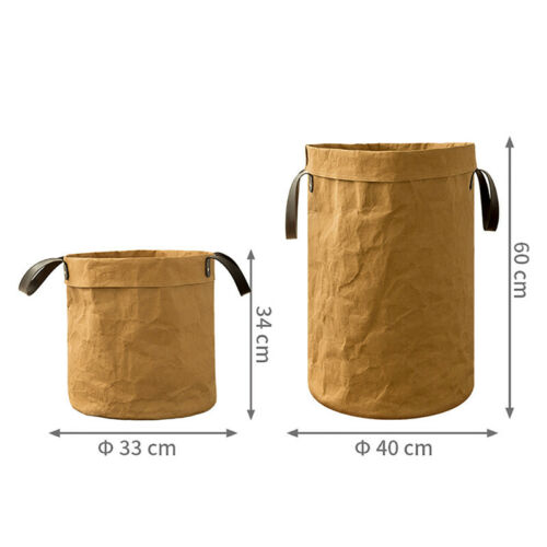 Heavy Kraft Paper Storage Bags Laundry Bag Toys Clothes Organizer Home Q