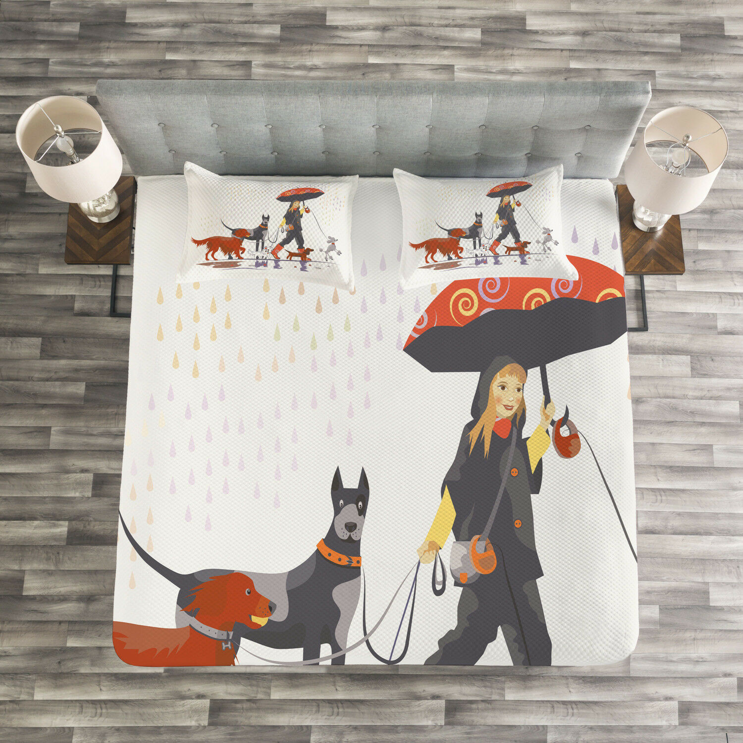 colorful Quilted Bedspread & Pillow Shams Set, Girl with Dogs in Rain Print