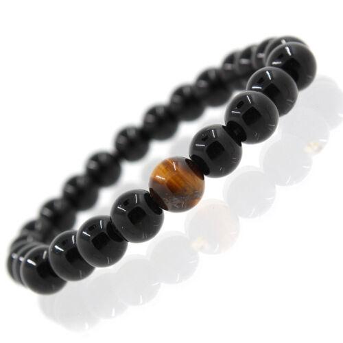 Fashion Unisex Men/'s Women/'s Jewelry Agate Tiger Eye Beads Bangle Bracelet