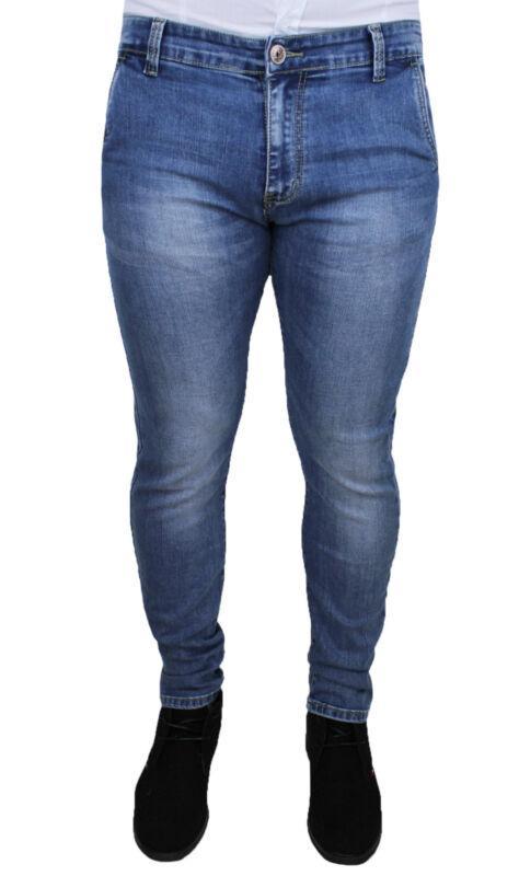 Jeans Herren Blau Klar Denim Slim Fit Angepasst Skynny 5 Taschen Elastisch Modernes Design