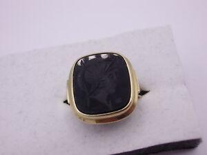 wunderschoener-Art-Deco-Siegel-Ring-333-Gold-amp-Onyx-Gr-54