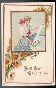 ANTIQUE-1912-NEW-YEAR-GREETINGS-YOUNG-GIRL-WITH-CALENDAR-EMBOSSED-POSTCARD