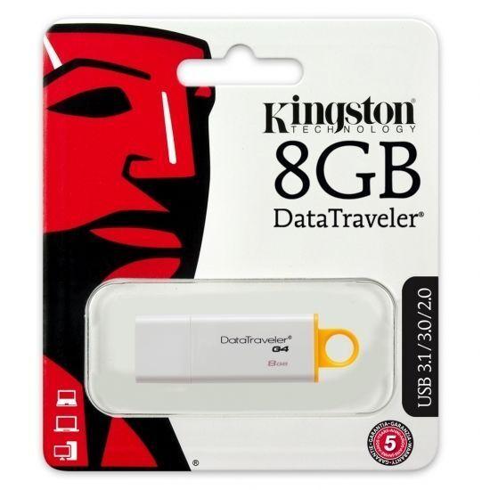 Lecteur flash Kingston DataTraveler G4 - 8 Go - USB 3.0 - Jaune, Blanc