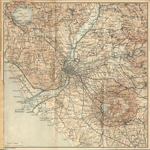 Cartina Geografica Roma E Dintorni.Roma E Dintorni Carta Geografica Touring Club 1925 Ebay