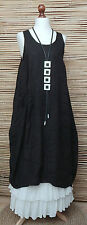 LAGENLOOK LINEN LAYERING LONG TUNIC-DRESS*BLACK*SIZE12-18 OSFA ITALY