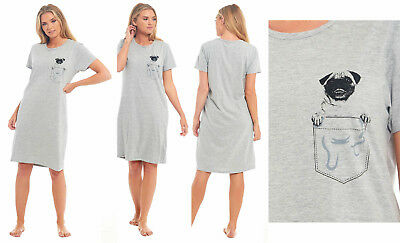 JERSEY COTTON Nightie PUG DOG Ladies Womens Nightdress Summer Sleep Grey Marl