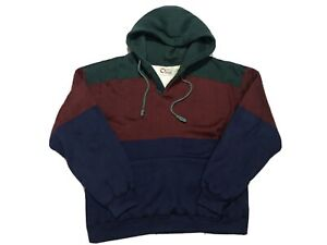 Vintage-90s-Colorblock-Hoodie-Sweater-Mens-Large-Multicolor-Pullover-Vtg