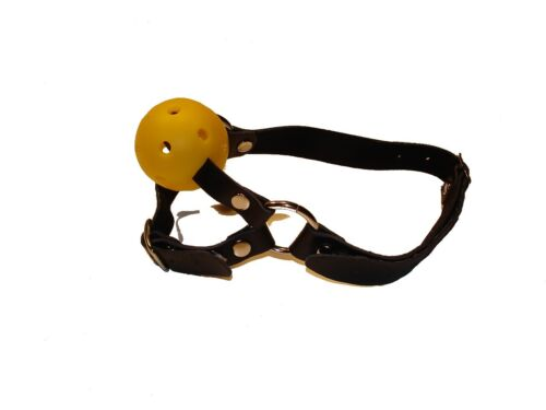 LEATHER GIALLO BALL GAG e Chin Strap gb-05-yel gratuita UK Consegna