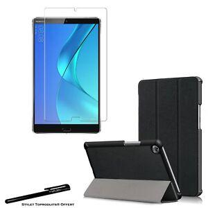 Coque Smart Noir Premium pour Huawei MediaPad M5 8.4 + Vitre de protection
