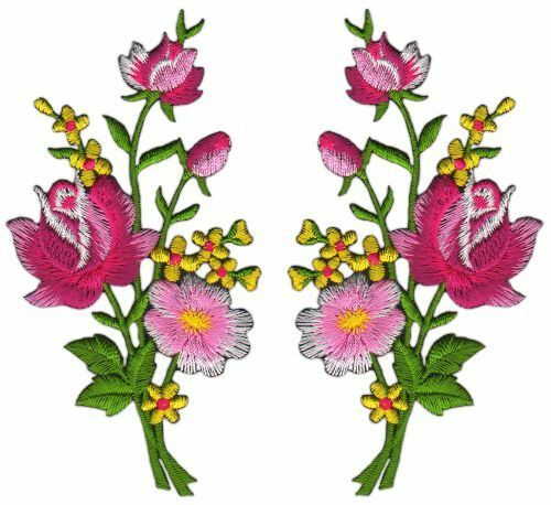 Ab40 flores set 2 piezas Patch perchas imagen Patch aplicación ramo de 5,5 x 11 cm