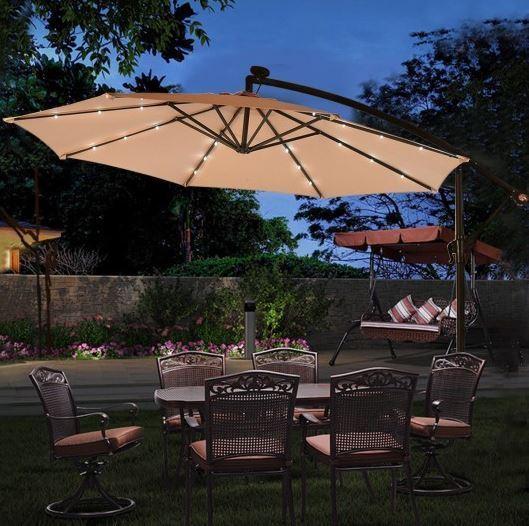 Patio Umbrella Off Set Tilt Outdoor Canopy Solar Led Lighted