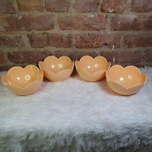 Set-of-4-Spritz-Tulip-Flower-Bowls-Pastel-Peach-Melamine-Outdoor-Picnic