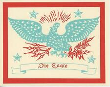 VINTAGE AMISH PENNSYLVANIA DUTCH FOLK ART EAGLE JIM FRUIT CAKE RECIPE CARD PRINT