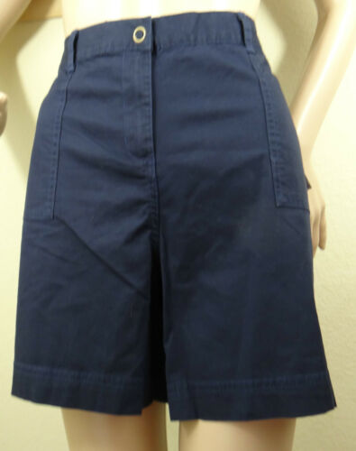 NWT  KAREN SCOTT beige,white blue elastic side clip button shorts 8,12,16,18