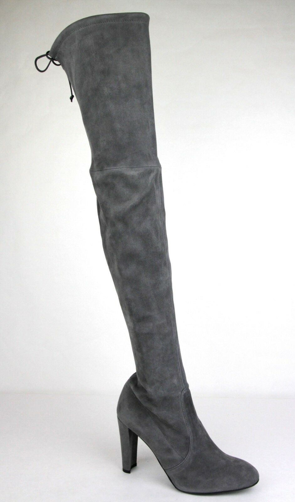 798 New Stuart Weitzman Charcoal Slate Suede Highland Over-The-Knee Stiefel 11 M