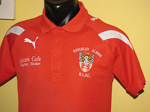Keighley-Albion-Rugby-League-Puma-Red-Polo-Shirt-Boys-Size-32-34