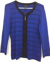 Cable Gauge Sweater Top Zip Front Career Dressy Royal Blue Black Trim Size S