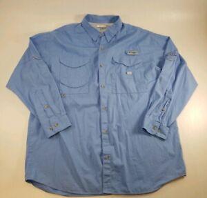 Columbia Sportswear Mens Blue Fishing Shirt Long Sleeve PFG Performance XL