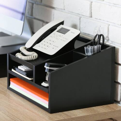 FITUEYES Wood Office Suppies Desk Organizer  with Letter Tray,Phone Stand