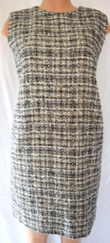 42 Tweed Metallic 44 Mouwloze ronde Zwartwit halsmaat Lanvin jurk met wPZiukOXT